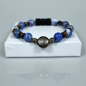 Blue Agates Beaded Bracelet with Antique Silver Lotus Flower