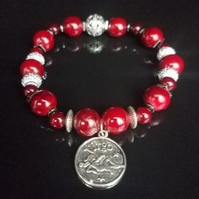 Cranberry Red Zodiac & Horoscope Birthstone Beaded Bracelet