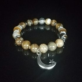 Crescent Moon & Star Smooth Brown Striped Agates Bracelet