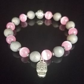Gray Jade & Pink Beaded Bracelet with Calavera