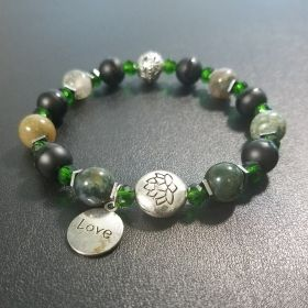 Green Heart Chakra Love Beaded Bracelet with Lotus Flower