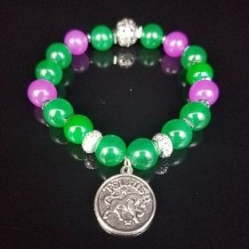 Ladies Pink & Green Zodiac Beaded Bracelet