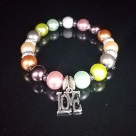 Multi-Colored Tahitian Pearls Love Bead Bracelet