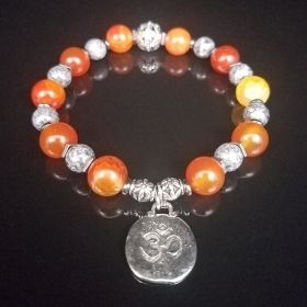 Orange Carnelian & Gray Marble Bracelet with Antique Silver Aum Symbol Charm