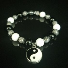Taoist Black & White Yin-Yang Beaded Bracelet