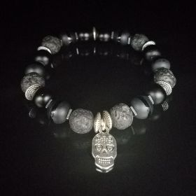 Triple All Black Lava Biker's Calavera Skull Beaded Bracelet