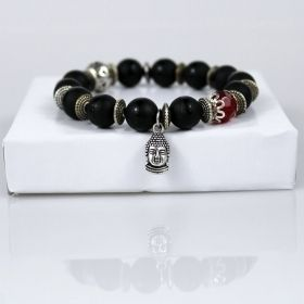 Black Onyx Tibetan Buddha Mala Bracelet with Red Jewel
