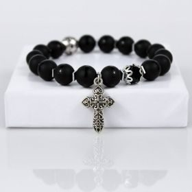 Black Onyx Salvation Beaded Bracelet with Silver Cross