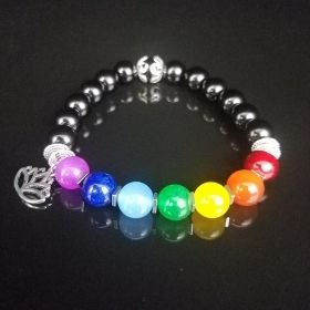 7 Chakra Black Yoga Bracelet with Antique Silver Lotus Flower Pendant