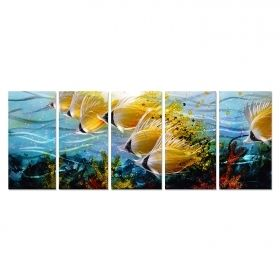 Blue Tropical School of Fish Metal Wall Art