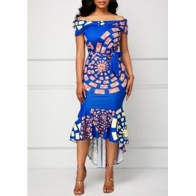 Bright Blue Belted Off the Shoulder Printed Mermaid Dress