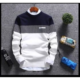 MENS FASHIONABLE THREE PATTERNED SWEATER