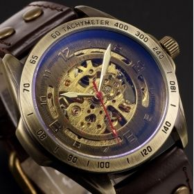 Men's Golden Skeleton Watch
