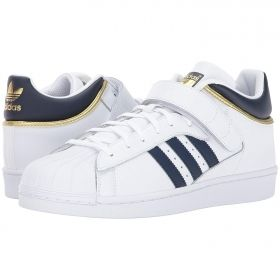 Shell Toe Adidas in White Three Quarter Velcro Strap Blue & Gold Accents