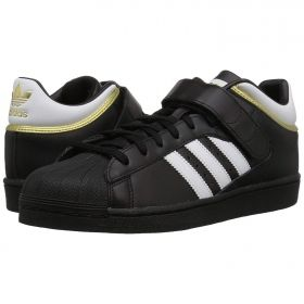 Shell Toe Adidas in Black Three Quarter Velcro Strap White & Gold Accents
