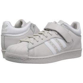 Shell Toe Adidas in Gray Three Quarter Velcro Strap White Accents
