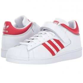 White Shell Toe Adidas in Three Quarter Velcro Strap Red & Metallic Silver Accents