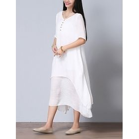 Women's Light Cotton All White Summer Dress