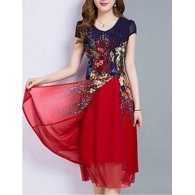 Womens Red & Blue Floral Patterned Short Chiffon Dress