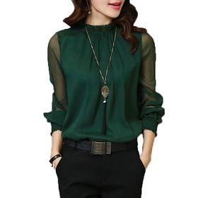 Women's Solid Colored Lantern Sleeved Blouse