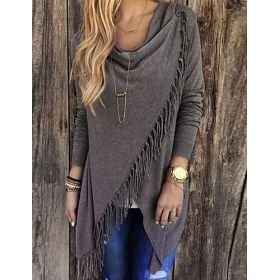 Women's Tassel Pullover Shawl Style Sweater Blouse