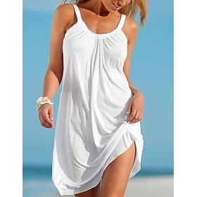 Women's Mini Strap Beach Shift Dress