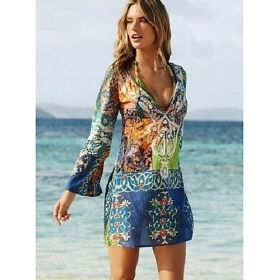 Women's Multi-Colored Graphic Print Beach Boho Mini Dress