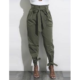 Women's High Rise Ribbon Bow Belt Chinos Pants