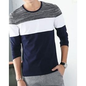 Men's Round Neck Three Sectional Long Sleeve T-Shirt