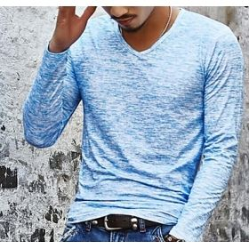 Men's Long Sleeve V-Neck Static Electricity Colored T-Shirt