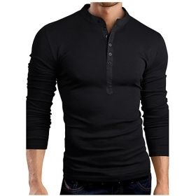 Men's Solid Colored Button-Up Collar Long Sleeve T-Shirt