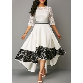 Women's Black & White Lace Panel Asymmetric Hem Dress