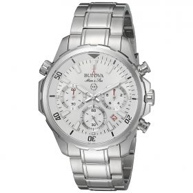 Bulova White Marine Star Stainless Steel Chronograph Watch