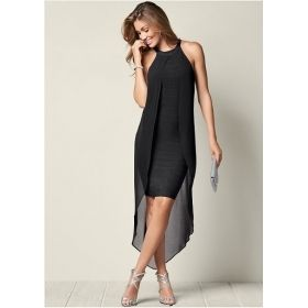 Women's Ribbed Cape Style Slimming Dress