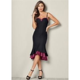 Women's Two-Tone Layered Black & Purple Ruffle Detail Midi Dress
