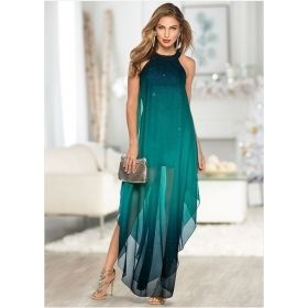 Women's Ombre Sharkbite Hem Glitter Dress