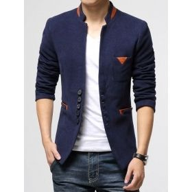 Men's Stand Collar Single-Breasted Blazer
