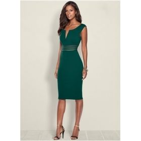 Women's Stylish V-Neck Waist Detail Dress