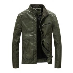 Men's Leather Stand Collar Shoulder Board Jacket