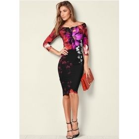 Women's Bright Floral Print Off The Shoulder Black Dress