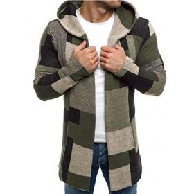Men's Army Green Hooded Patchwork Color Block Slim Fit Casual Coat