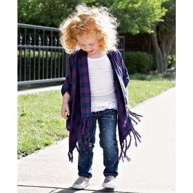 Girls Plaid Drape Cardigan Sweater