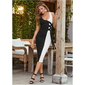 Women's Black & White Half and Half Lace Up Dress
