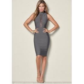 Women's Mock Neck Slimming Dress