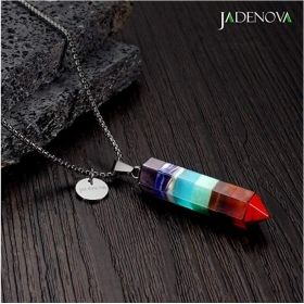 "7 Chakra Energy Healing Crystal Gemstone Pendant Necklace with 18"" Stainless Steel Chain"