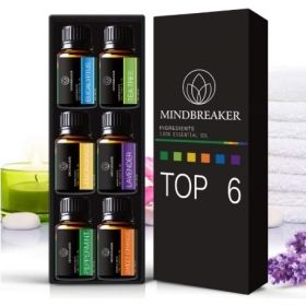 Essential Oils 6 Bottle Aromatherapy Set by MindBreaker