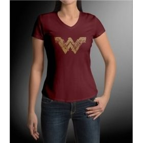 Deep Red Wonder Woman Inspired Logo V-Neck T-Shirt