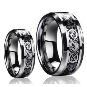 His & Hers Matching Couples Celtic Knot Dragon Tungsten Carbide Ring Set