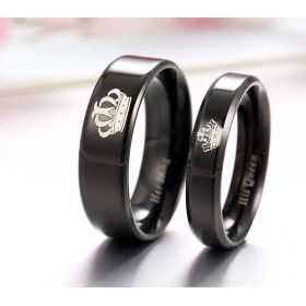 His Queen Her King Black Titanium Matching Ring Set