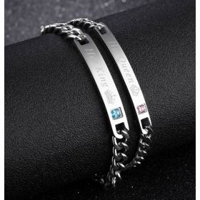 His Queen Her King Matching Couples All Silver Stainless Steel Bracelet Set